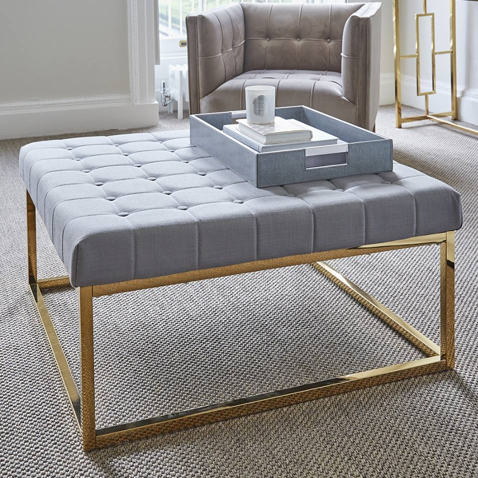 be bold & make a statement - This stunning gold framed ottoman is just perfect for a living room in front of an gorgeous sofa or armchair.