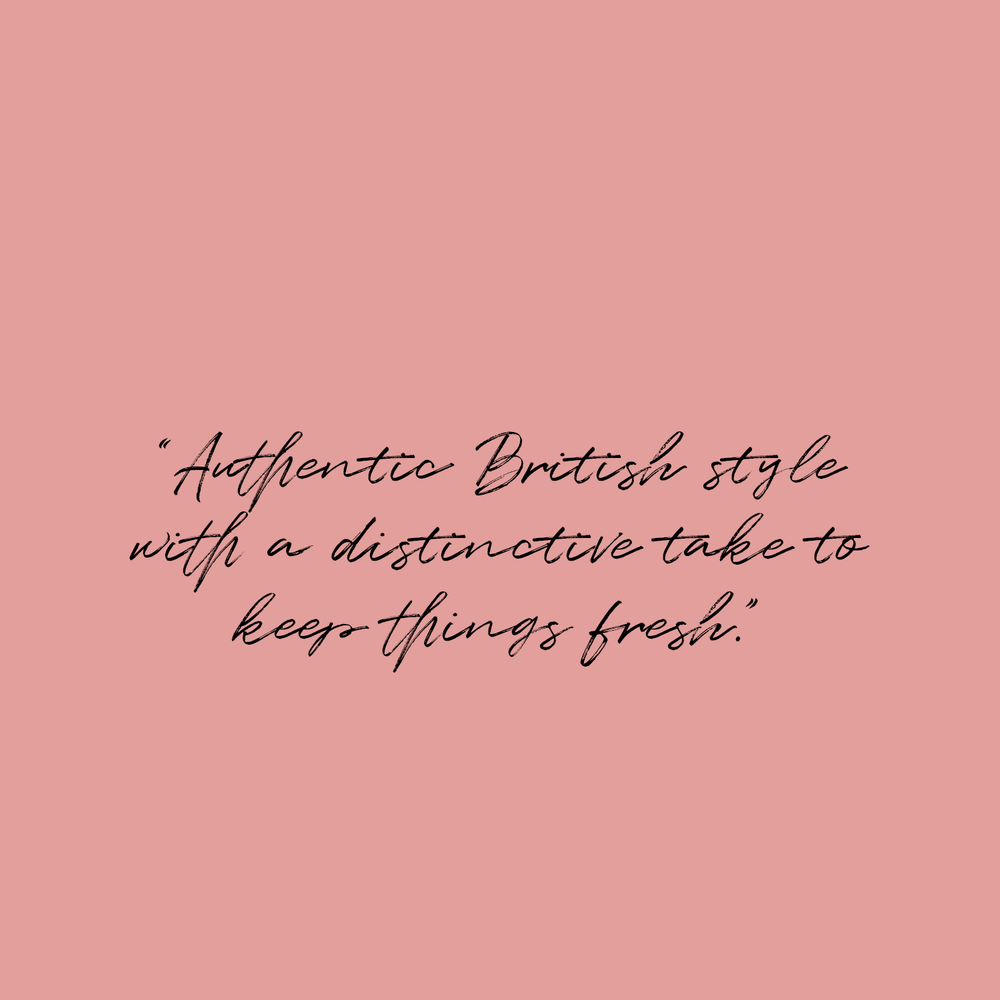 "Hackett London quote on blush pink background: ""Authentic British Style with a distinctive take to keep things fresh."""