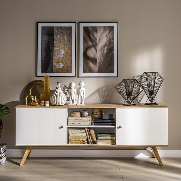clean lines and simple Scandi style - The Nature Wide Sideboard from Vox would make a stunning storage solution to any home.