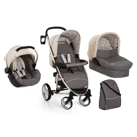 Hauck Malibu XL 3-in-1 Travel System - The Hauck Malibu XL 3-in-1 Travel System gets you and your little one perfectly equipped straight from birth right up to toddler.• Includes: pushchair, carrycot & car seat • Lightweight aluminium frame • Extra large rear wheels • Compact folding dimensions - fits into almost any car boot • Lockable 360° swiveling front wheels • Shock absorbing suspension