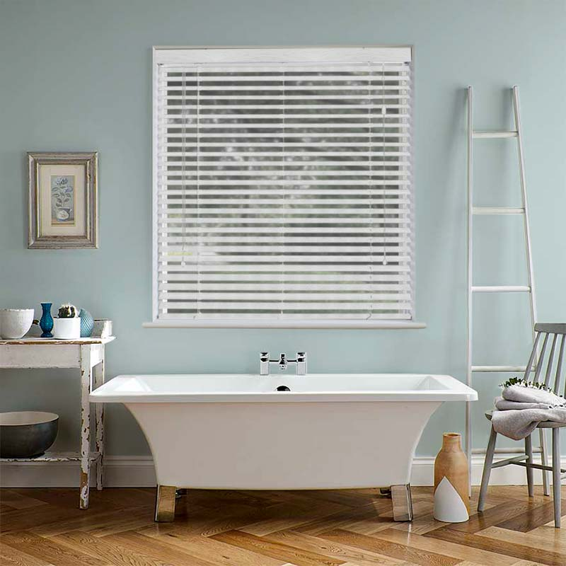 Discounted white ash wooden blinds from Direct Blinds UK