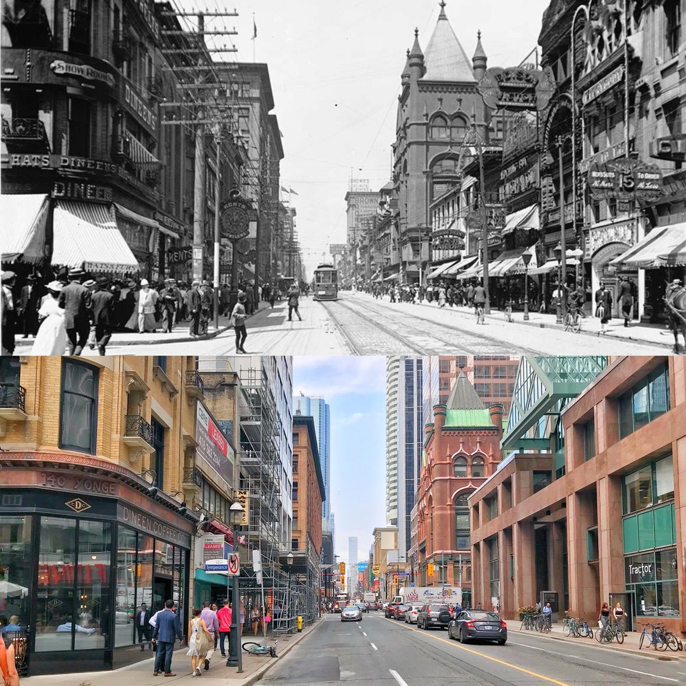 Toronto City Archives - Yonge and Temperance, 1900s & 2018