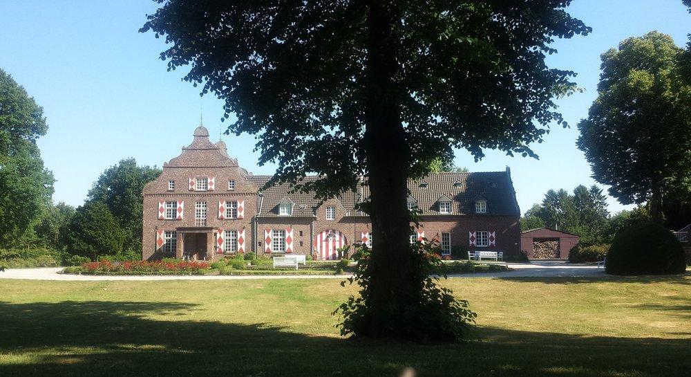Knorrige Bäume und immer wieder ein anderer Blick auf Gebäude des Schlosses im riesigen Park