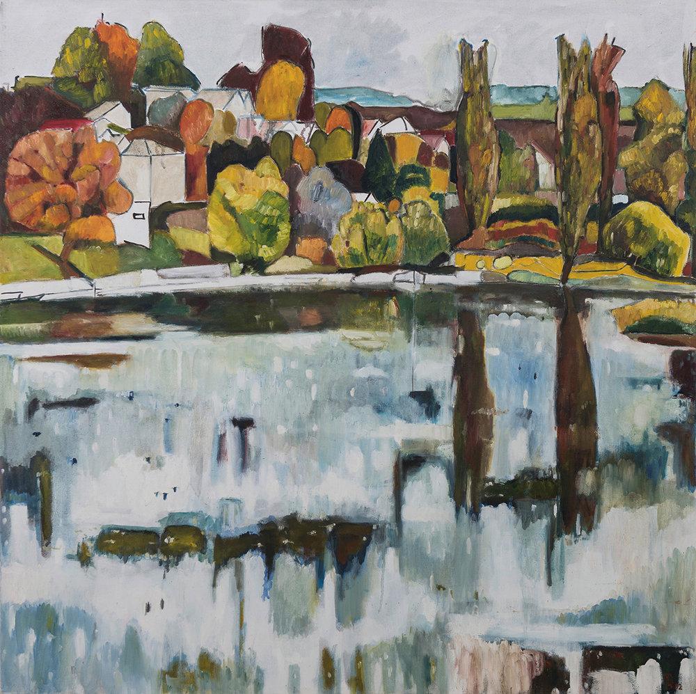 Rhein oil on canvas 100×100 cm, 2002