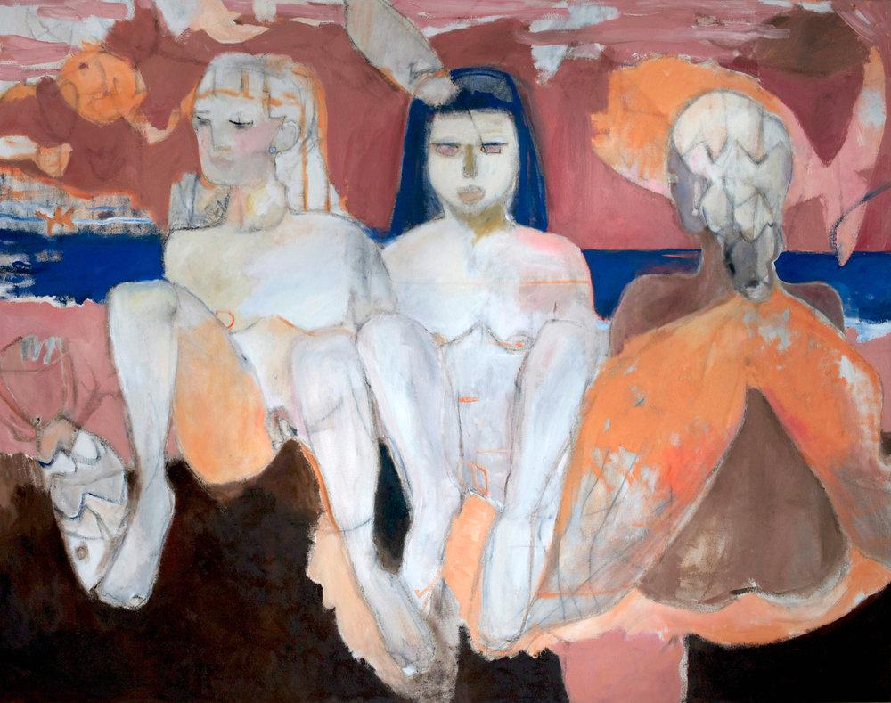 silent sisters, oil on canvas, 140 x 120 cm , 2019