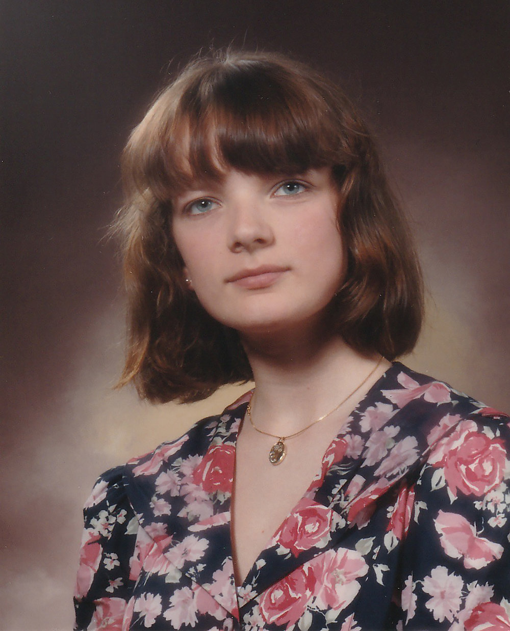 Junior high in Oslo portrait from 1989. Elisabeth wearing a Laura Ashley dress