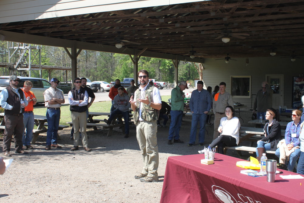 Chris Carver welcomes participants to the Good News Clay Shoot and shares his heart for the ministry of  CEF® .