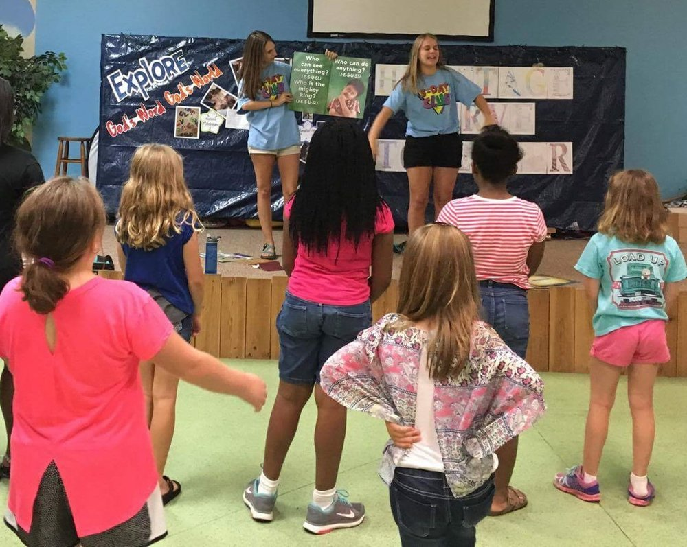 Francie and Mary Phyfer Parker lead music at a  5-Day Club®  at the Heritage Baptist Church Day Camp.