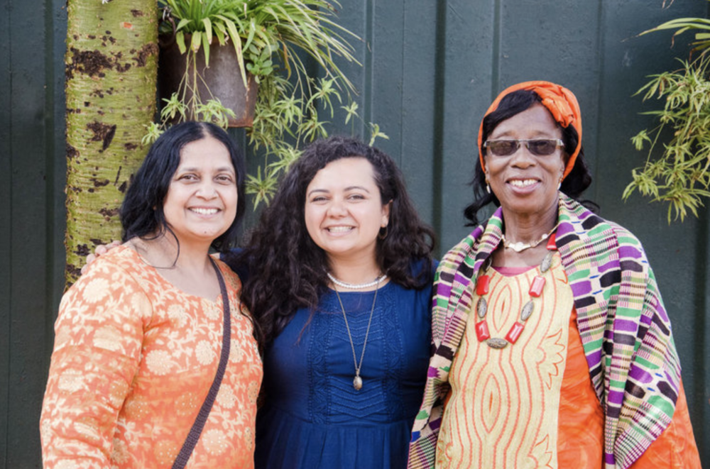 Madeleine is on the left, with Lavanya (right) and Marie (center) at our Gather Tirzah Conference in June 2017.