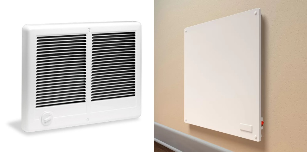 Electric Wall Heaters  Because most electric wall heaters are quite cost effective, they are the most common heat source installed during escrow to satisfy financing requirements. Things to remember: The heaters must be hard wired into the electrical system and considered a fixture of the home. For FHA loans, the heater (or multiple heaters) must have a manufacturer rating sufficient to heat the entire Gross Living Area (and non-GLA areas containing building components) to a minimum 50 degrees. For VA loans, the heater must have a manufacturer rating sufficient to heat the areas of the home only with plumbing (if there is also wood stove or fireplace) to 50 degrees.