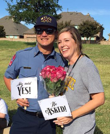 Wylie Fire Captain, Rob Nishiyama, proposed to Stephanie Seale, a fourth grade teacher at Whitt during a fire drill. Seale has taught at Whitt for 11 years.