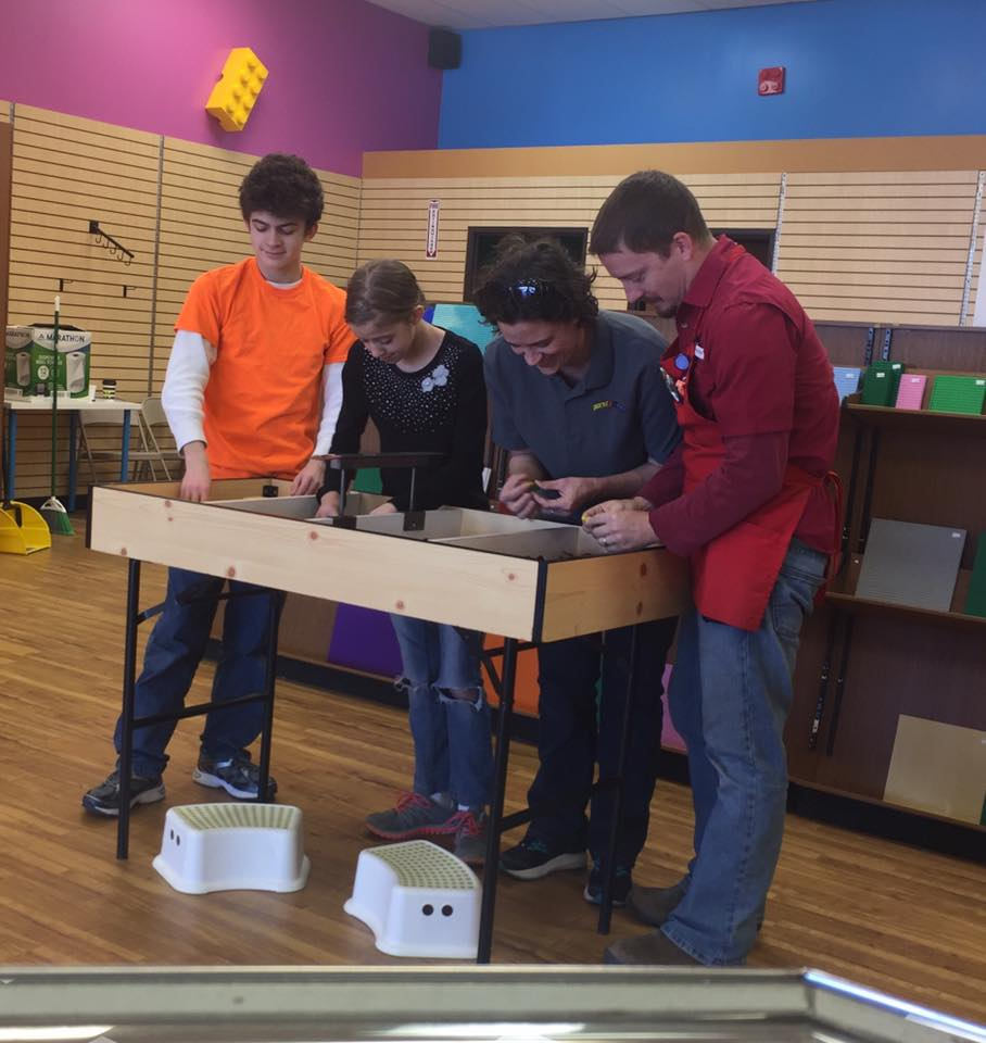 Noah, Lili, Andrea and Jason Klima can regluarly be found helping customers dig deep in the bulk piles of LEGO.