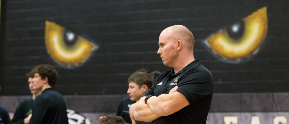 PESH head coach Bryan Kenney watches a match vs Lovejoy