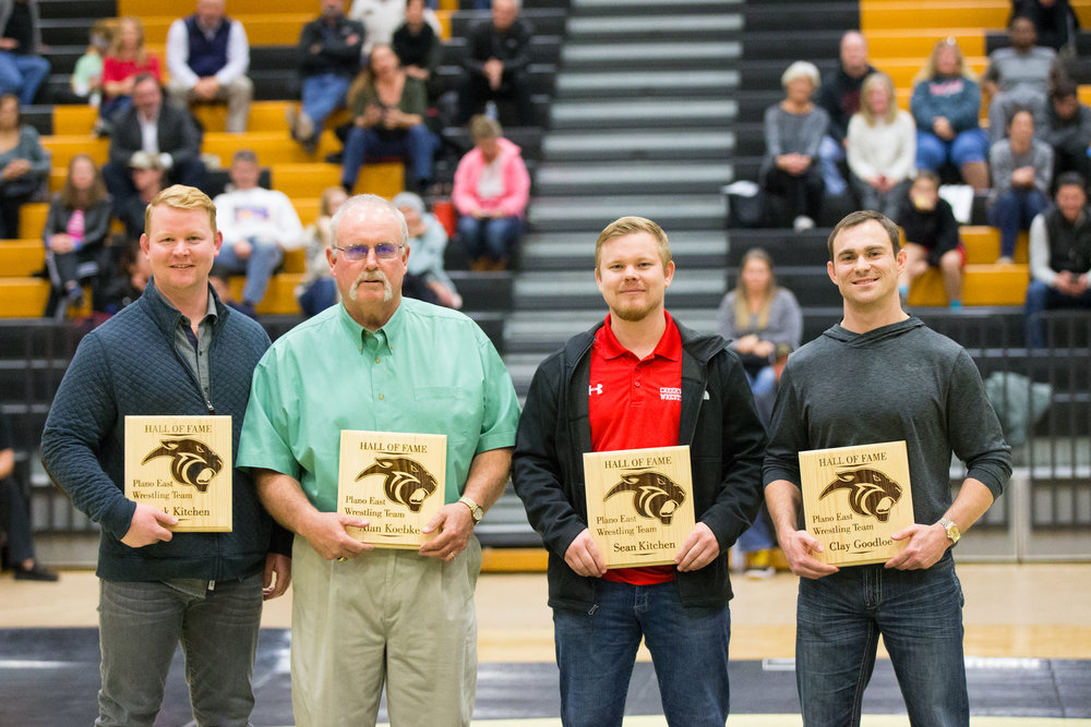 Jack Kitchen, Coach Al Koebke, Sean Kitchen and Clay Goodloe were inducted into the HOF
