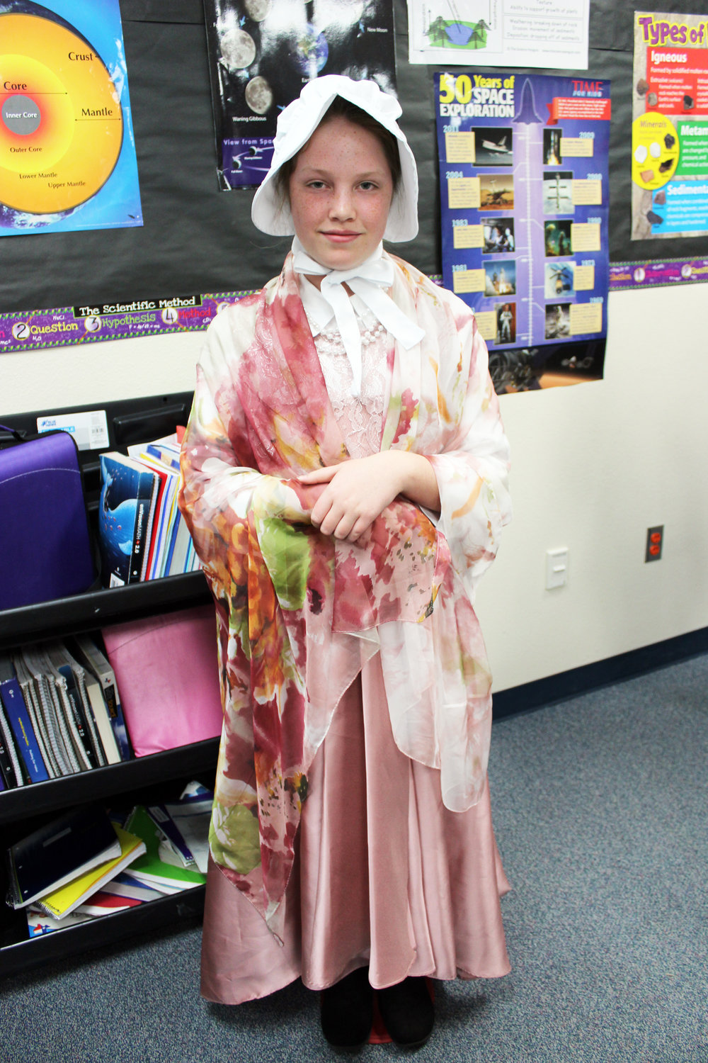 "Emma Martinez portrayed Abigail Adams, the wife of President John Adams. A fact she presented was, ""I had five children, but one of them, Susanna, died at the age of one."""