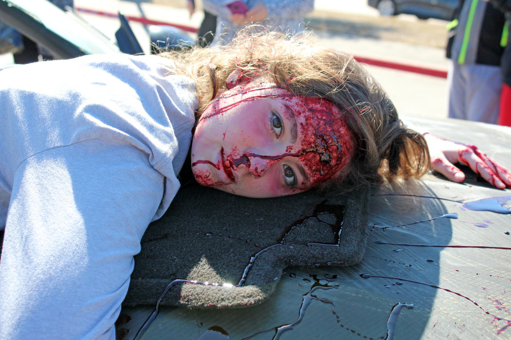 Lelani Butler portrayed one of the three fatalities. She was taken from the scene by CareFlite.