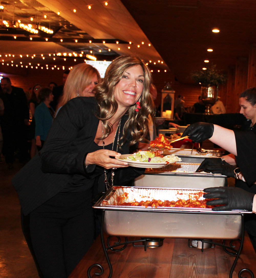 Colleen Frost at the dinner buffet line.