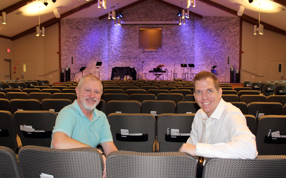 John Fletcher, MRBC Student and Media Minister and Lash Banks, MRBC Lead Pastor in the recently remodeled sanctuary.