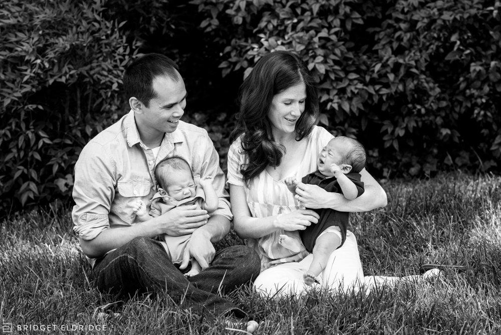 family portrait with newborn twin boys