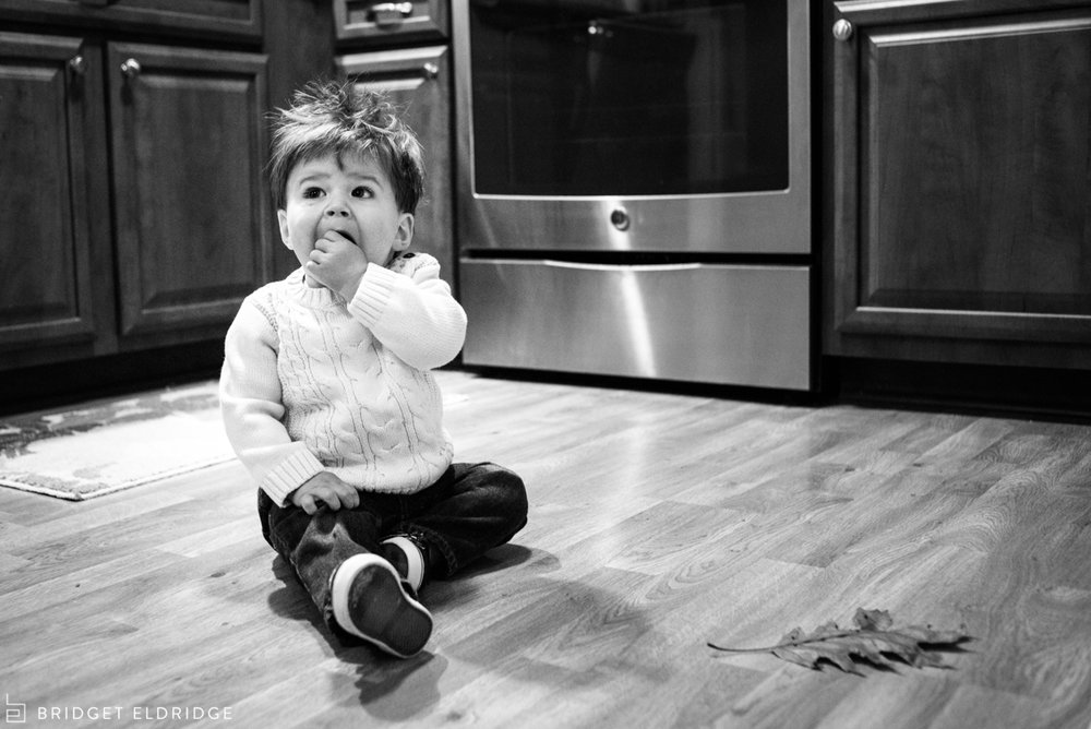 little boy hangs out in the kitchen with his leaf