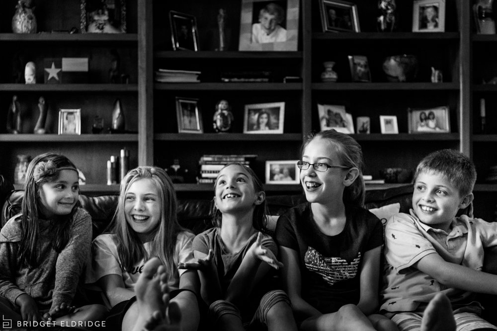 kids laugh during a family game