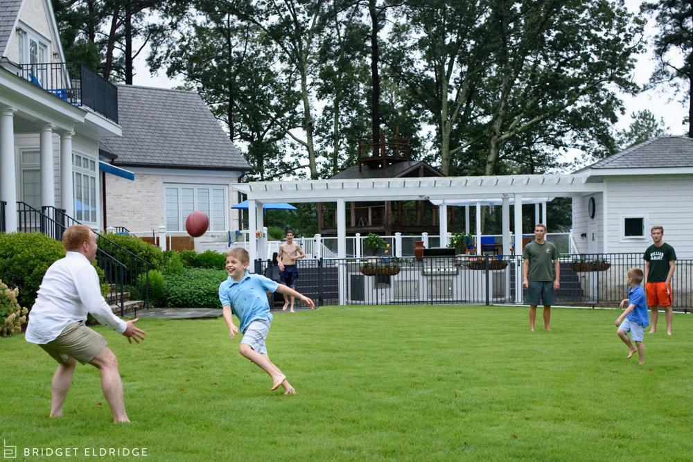 family plays football