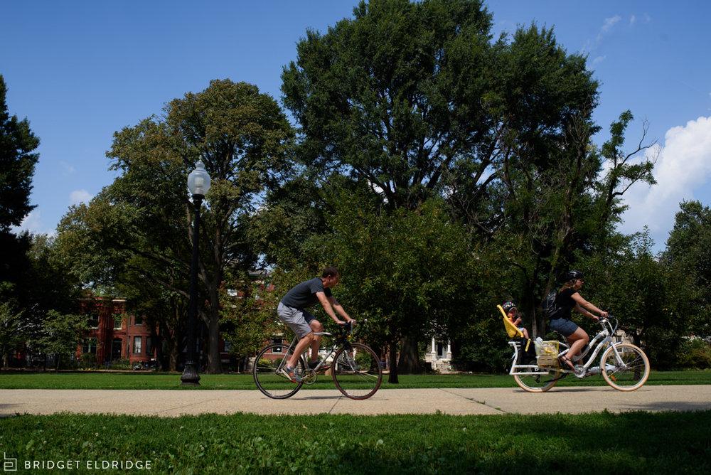 Family rides their bikes through Lincoln Park.
