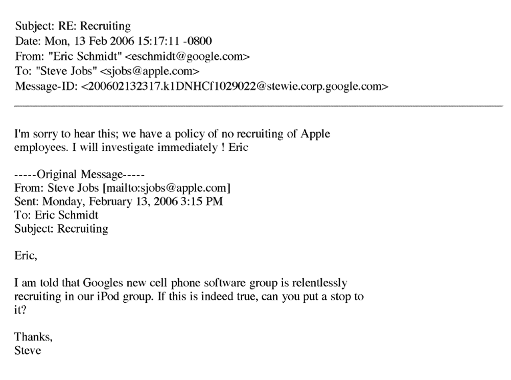 Email from Eric Schmidt (Google) to Steve Jobs (Apple)