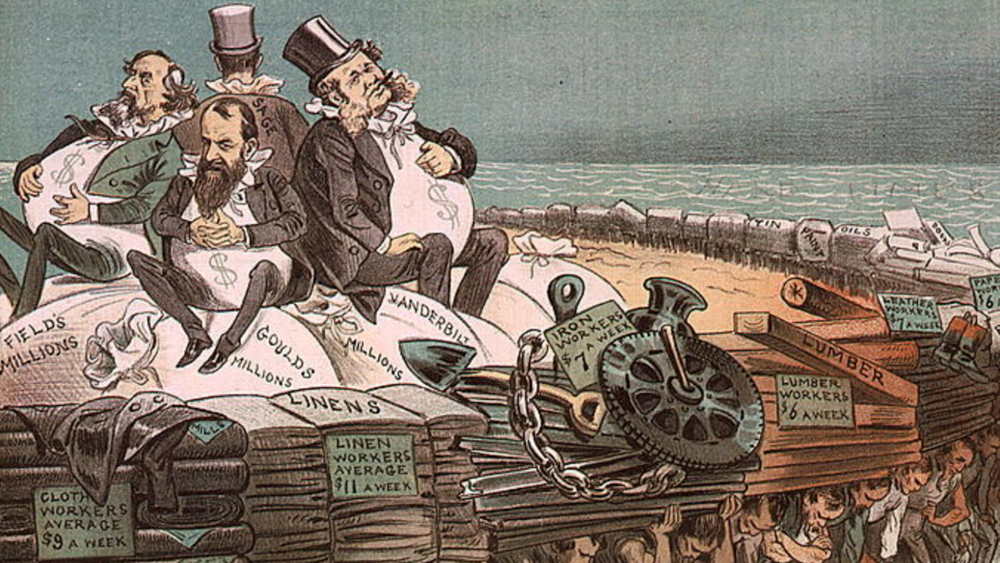 """Political cartoon - """"The protectors of our industries"""" from 1883"""