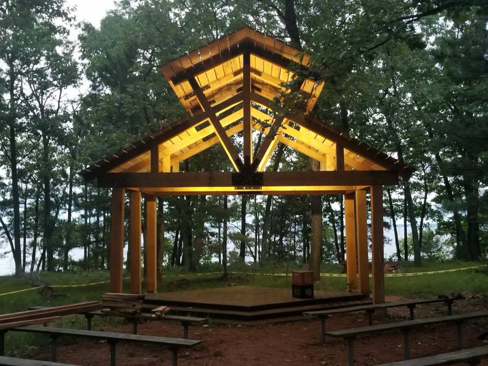 Chapel is constructed & lit. We still need to do work on the platform, seating & landscaping but it currently looks great!