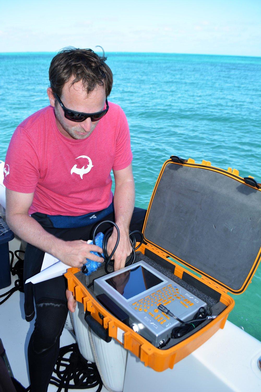 Tristan demonstrates the underwater ultrasound