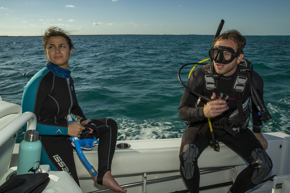 Trip leader Tristan prepares for a deployment dive