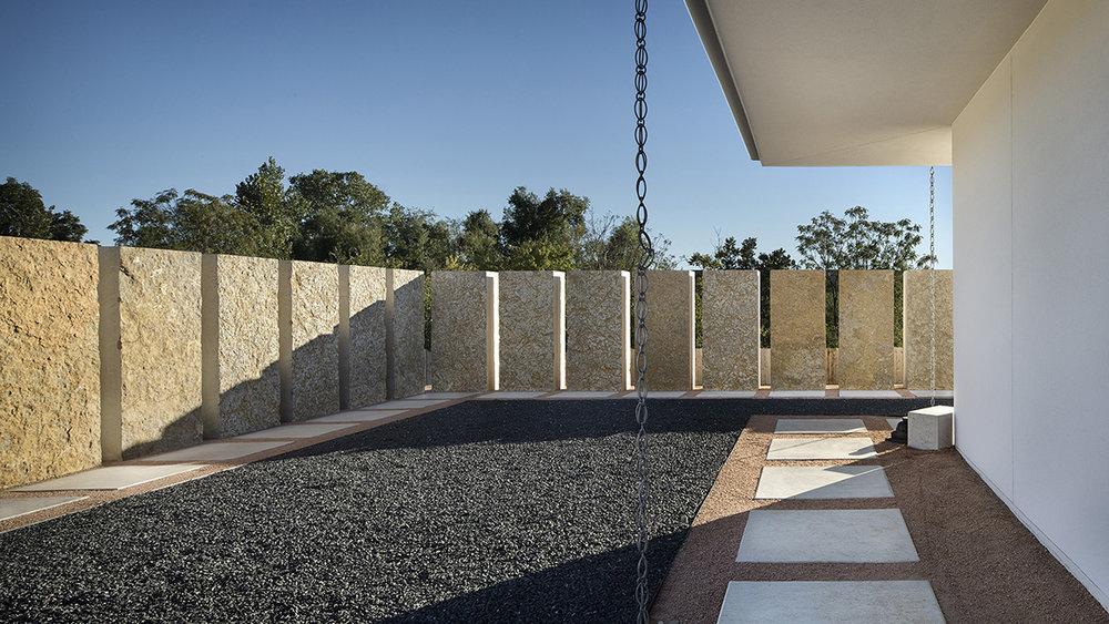 Locally-sourced Leuders limestone blocks (Chinmaya Mission Austin)