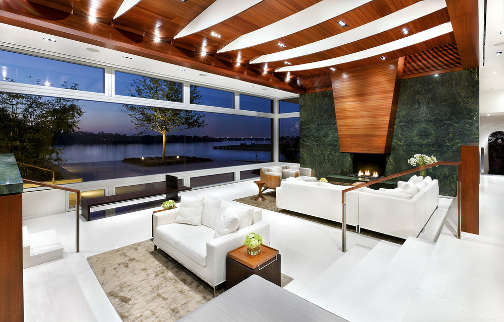 The Lakeshore Residence incorporates subtle Indian influences with a contemporary aesthetic.