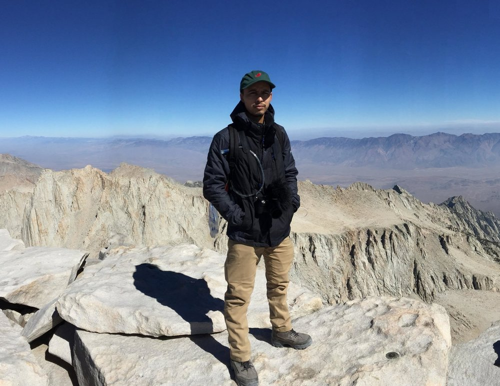 The top of Mt. Whitney, after I told him on several occasions to train a bit more.