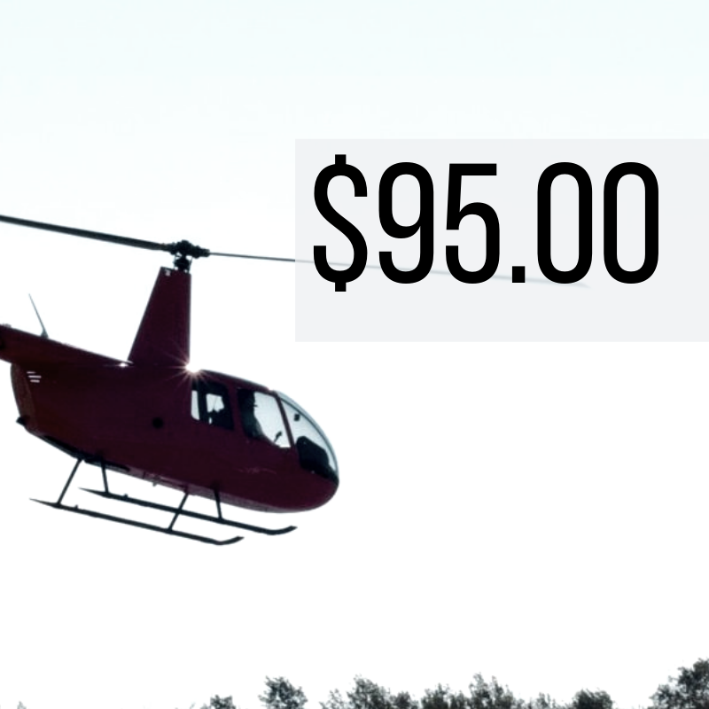 15 Miles - $95.00 (+ taxes and fees)   Take in the Iconic New Orleans sights!  The perfect and most enjoyed flight! Fly over top of the French Quarter and Bourbon Street!   *Prices are per ticket