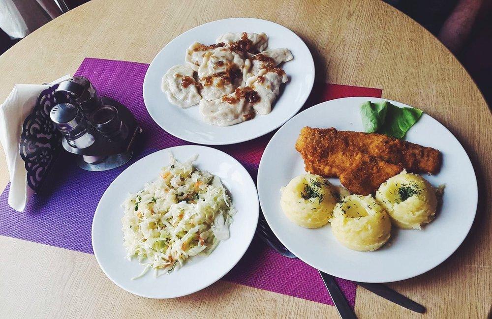 Pierogi again, fried cod with mashed potato and Polish sour cabbage