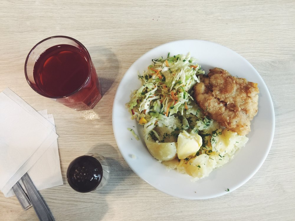 And there we have my beloved kompot and fried cod again, served with boiled potato and cabbage salad. The potato is topped with parsley and a knob of butter, which I think is a nice touch.