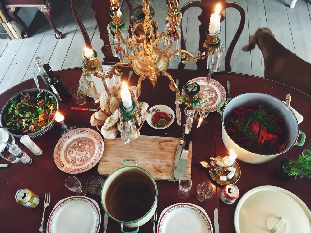 The full celebration table. Pies were missing since they were being heated up on top of the wood fired oven.