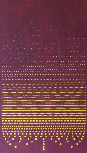 Photon Tree: Burgundy and Saffron, oil on canvas, 86 x 50 cm