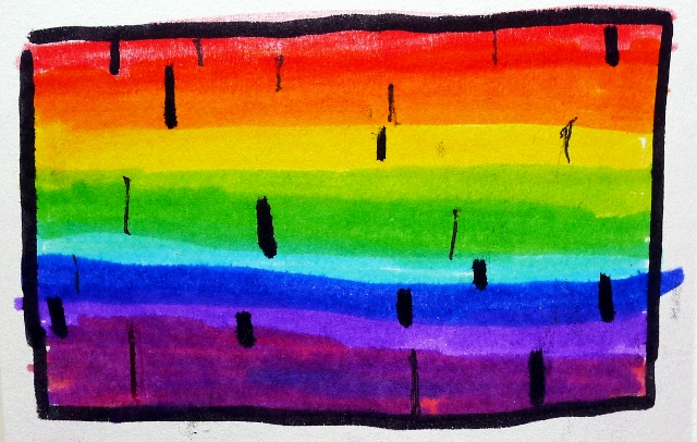 1. Impression of the Sun's visible light spectrum with spectral absorption lines. By Alana.