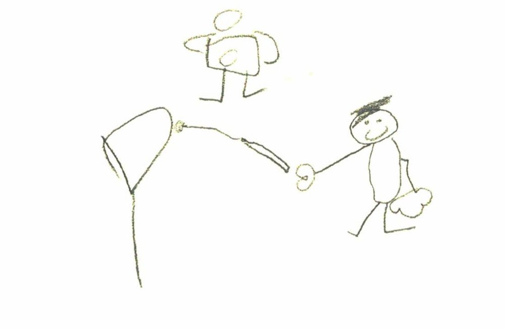 A young participant's rendering of setting fire to an explosive balloon of hydrogen.
