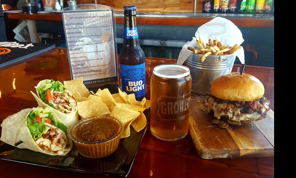 Our Bucket Boy Burger, The Stash (our chicken wrap), the best fries you'll ever eat, a Blue Van craft beer and a Bud Light (for the beer lightweights among you)