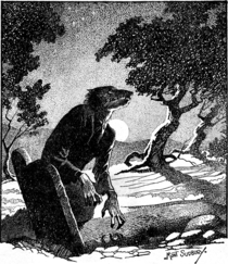 A werewolf begins his night out in this image from Wiki Commons