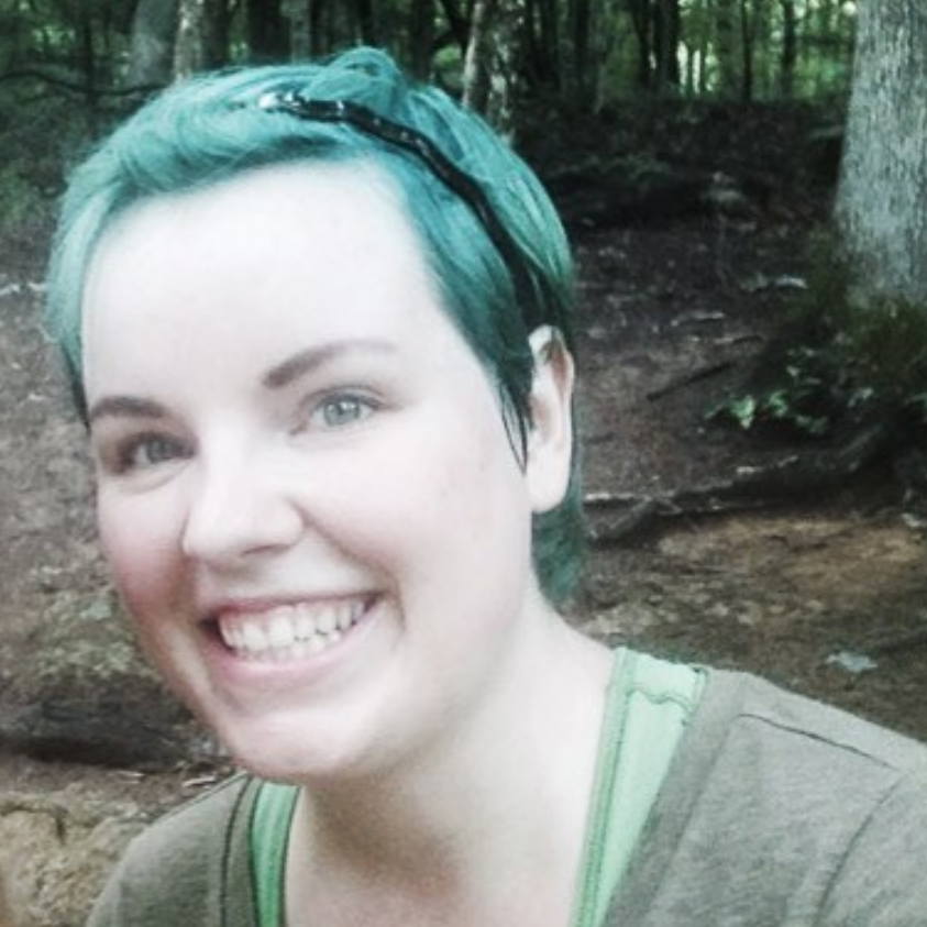 Hiking through nature with my teal hair