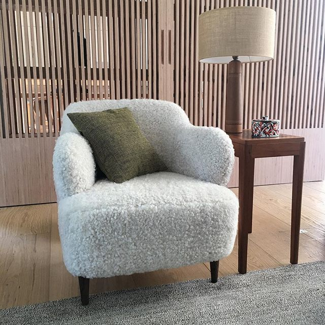 We love our new hand made armchair covered in Gotland Sheepskin from @howe36bournestreet