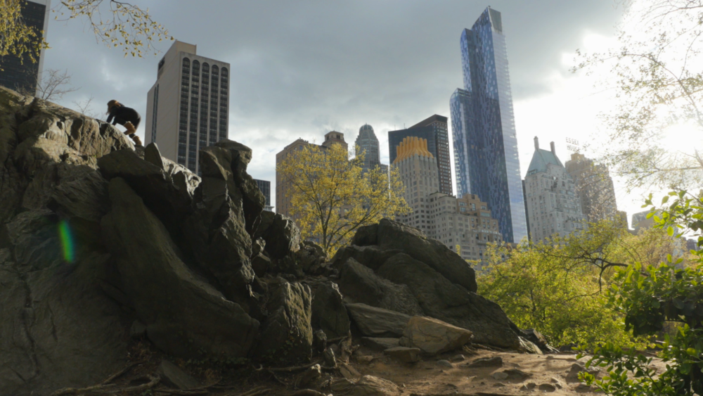 girl climbing rock central park.png