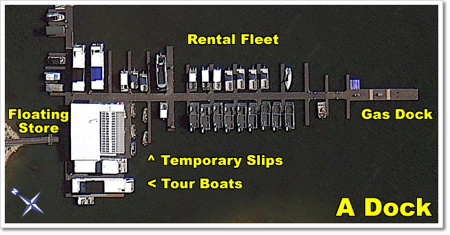 A Dock  houses the  Floating Store  (with all your last minute needs), the  temporary slips , our fleet of  rental boats , our  tour boats , and the public gas dock.