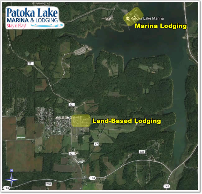 Our Marina Lodging is inside the main (Newton-Stewart SRA) entrance to Patoka Lake. Our Land-Based Lodging is located just outside the entrance, across from Patoka Station, and at Patoka Lake Winery.