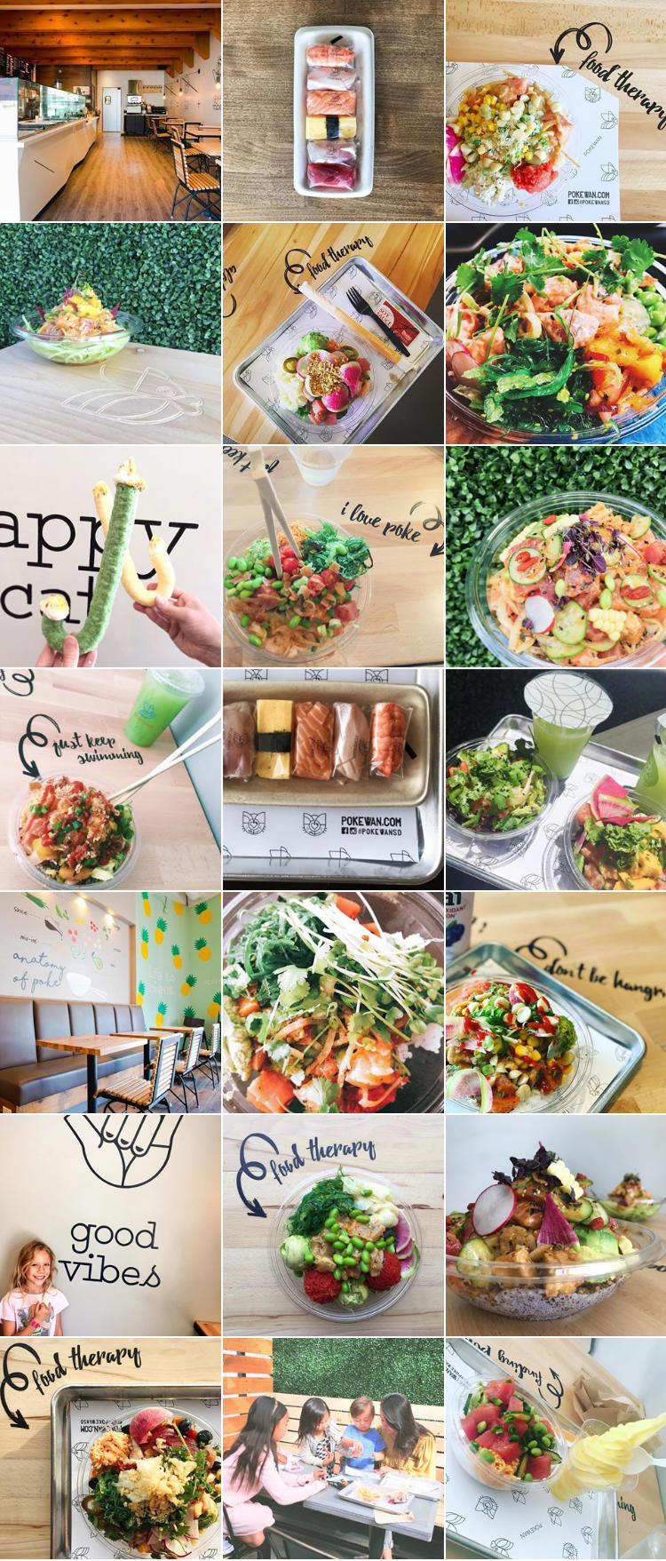 Pokewan  was launching a new location in Del Mar. We wanted to make sure their feed matched their locations and their vibe. I used a mix of photos I took along with user generated content to create a light and bright feed. I wanted to make sure that the images were visually balanced – you can see an even spread of people, flat lays, interior, bowls, Instagrammable decor, trays, sushi, etc.